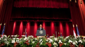 President Barack Obama at Cairo University, June 4, 2009 (Chuck Kennedy / White House)