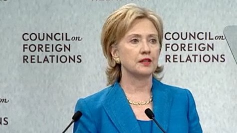 Hillary Clinton gives a speech on the Obama administration's foreign policy at the Council on Foreign Relations on July 15, 2009