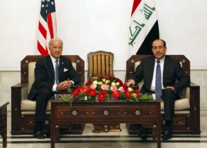 U.S. Vice-President Joe Biden with Iraqi Prime Minister Nouri al-Maliki (Hadi Mizban/AFP/Getty Images)