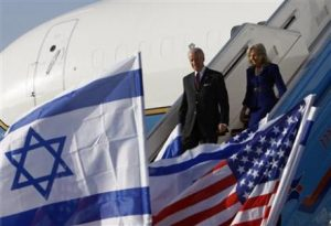 Vice President Joe Biden and his wife arrive in Tel Aviv (Ronen Zvulun/Reuters)