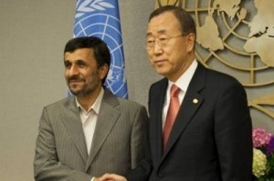 Iranian President Mahmoud Ahmadinejad with U.N. Secretary General Ban Ki-moon in New York (Don Emmert/AFP)