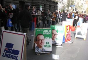 Voters queuing outside Melbourne Town Hall on election day.