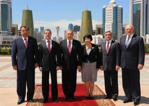 Presidents of Russia, Kazakhstan, Kyrgyzstan, Tajikistan, Armenia and Belarus at the 27th session of the Eurasian Economic Community in Astana, Kazakhstan, on July 5 2010 (http://www.akorda.kz)