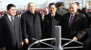 Presidents of China, Kazakhstan, Uzbekistan and Turkmenistan attend the opening of the new Turkmenistan-China gas pipeline, Turkmenabat, Turkmenistan, on December 14 2009 (http://www.akorda.kz)