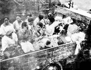 """Comfort women"" being trucked to the front lines for Japanese soldiers"