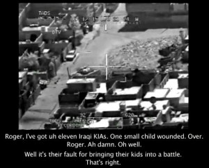 Leaked video grab of an American army footage in which at least a dozen civilians were killed by U.S. troops in 2007.  (WikiLeaks)