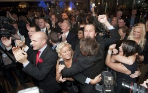 Sweden Democrats party members celebrate their electoral victory (Fredrik Sandberg/Reuters)