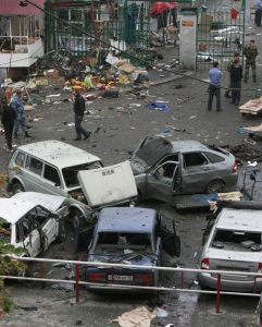 The scene of a blast site in Vladikavkaz, September 9, 2010 (Reuters)