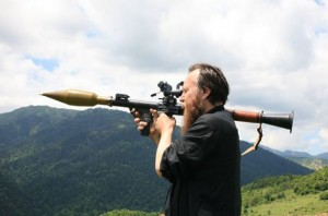 Alexander Dugin shortly before the Russian-Georgian War, in South Ossetia (July 2008).