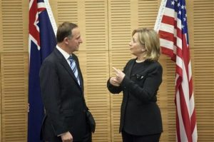 New Zealand Prime Minister John Key meets with U.S. Secretary of State Hillary Clinton on November 4, 2010 (Evan Vucci, Pool/AP)