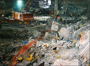 Investigators go through the rubble from the bombing of the World Trade Center in 1993.
