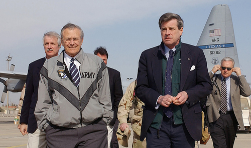 Secretary of Defense Donald Rumsfeld and Coalition Provisional Authority Administrator L. Paul Bremer III