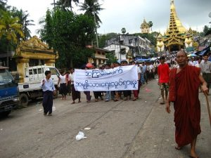 Monks Protesting in Burma (Rangoon, Shwedagon pagoda) in 2007