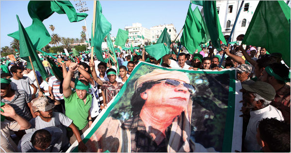 A pro-Gaddafi rally at Tripoli's Green Square on Friday, July 1, 2011 (Mahmud Turkia/Agence France-Presse-Getty Images)