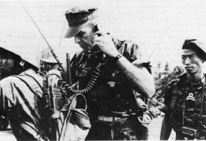 USMC Captain Franklin P. Eller, advisor to the 4th Vietnamese Marine Battalion, coordinates with other American-advised units operating nearby during the Tet Offensive (Photo: US Marine Corp)
