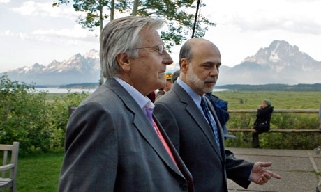 President of the European Central Bank Jean-Claude Trichet and Federal Reserve Chairman Ben Bernanke at Jackson Hole (Photo: Reed Saxon/AP)
