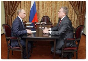Vladimir Putin meets with Deputy Prime Minister and Finance Minister Alexei Kudrin (Photo: premier.gov.ru)