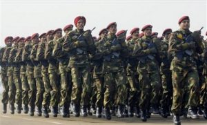 An Indian Army Parachute Regiment contingent marches past during Army Day parade in New Delhi, India, Thursday, Jan. 15, 2009. (Gurinder Osan/AP)