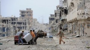 "Sirte, Libya, ""blasted to smithereens"" by NATO. (BBC)"