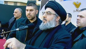 Hezbollah leader Hassan Nasrallah in a televised speech on December 6, 2011 (AFP)