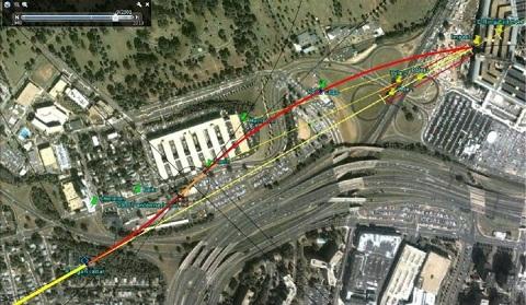 Figure 1: Flight path assuming turnoff at the earliest reasonable point; the last radar position.