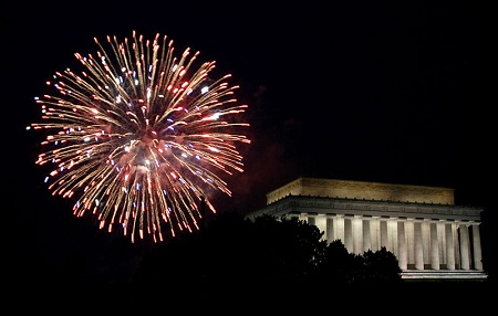 Fireworks and the Lincoln Memorial during the Fourth of July celebration in Washington, D.C.