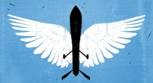 "An image of a drone with angel wings that accompanies Scott Shane's article ""The Moral Case for Drones"" on the New York Times website (Vahram Muradyan/New York Times; reproduced here under the ""fair use"" clause of U.S. copyright law, 17 U.S.C. § 107, for news reporting, commentary, and criticism)"