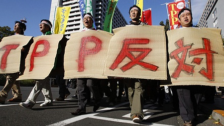 Demonstrators protest the TPP in Japan last October (Shizuo Kambayashi/AP)