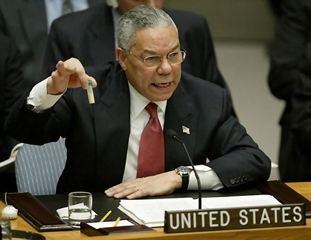 Secretary of State Colin Powell presents the Bush administration's case for war on Iraq at the U.N. Security Council on February 5, 2003