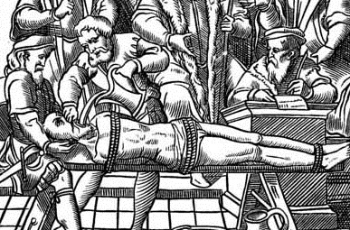 """The Water Torture.— Facsimile of a Woodcut in J. Damhoudère's Praxis Rerum Criminalium: in 4to, Antwerp, 1556"" (Wikimedia Commons). The U.S. has used the medieval torture method of waterboarding on prisoners in its so-called ""war on terrorism""."