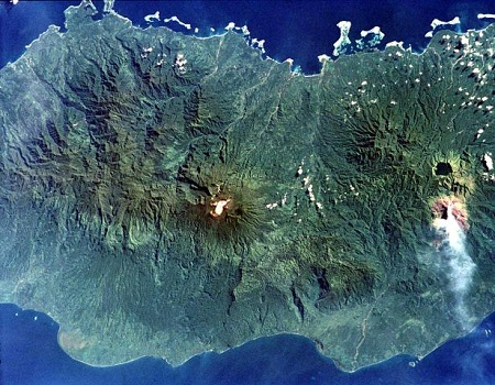 A NASA space shuttle image of Bougainville Island