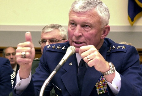 Gen. Ralph E. Eberhart briefs members of the House Armed Services Committee on March 13, 2003 (Photo: USAF)
