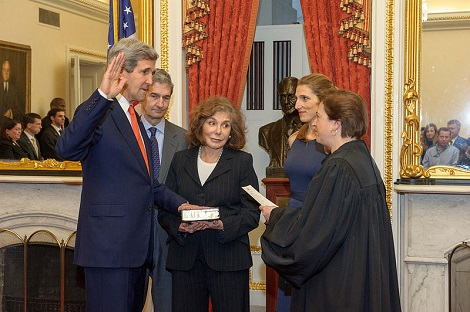 Supreme Court Justice Elena Kagan swears in Secretary of State John Kerry on February 1, 2013 in the Foreign Relations Committee Room in the Capitol. They were joined by his wife Teresa, daughter Vanessa, brother Cameron, and his Senate staff. February 1, 2013. (US State Department)