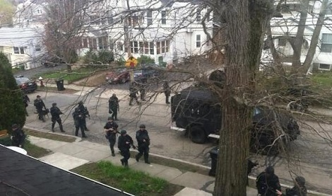 Police in the streets of Boston following the Marathon bombing (Photo: Infowars.com)