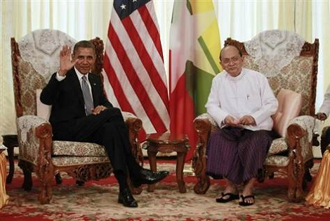 US President Obama and Burma President Thein Sein