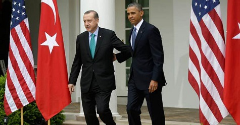 Turkey Prime Minister Recep Tayyip Erdogan and US President Barack Obama at the White House on May 16, 2013 (AP)