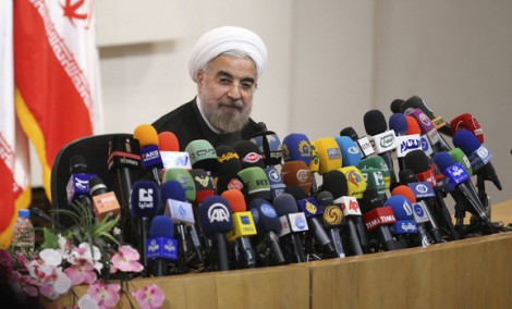 Iranian President-elect Hassan Rouhani speaks during a news conference in Tehran, June 17, 2013. (Majid Hagdos/Fars News/Reuters)