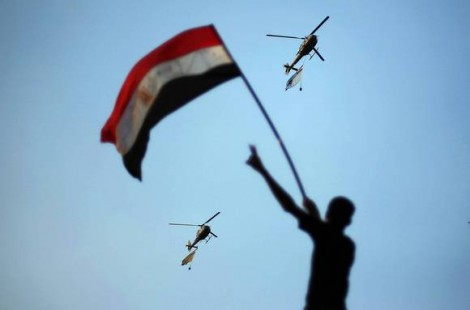 Military helicopters over Tahrir Square on July 1, 2013 (Suhaib Salem / Reuters)
