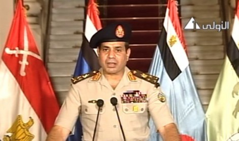 Egyptian Defense Minister Abdelfatah al-Sissi on Egyptian state TV delivering a statement on July 3, 2013. The military issued President Morsi an ultimatum before deposing him in a coup.
