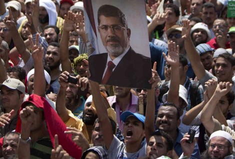 Supporters of Mohammed Morsi protest his removal in a military coup, July 5, 2013 (Mahmud Hams /AFP/Getty Images)