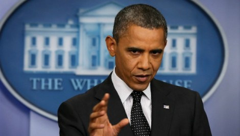 "US President Barack Obama warned Syria against crossing a ""red line"" by using chemical weapons in a press briefing on August 20, 2012"