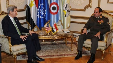 U.S. Secretary of State John Kerry meeting with the head of Egypt's armed forces, General Abdel Fattah al-Sisi (Press TV)