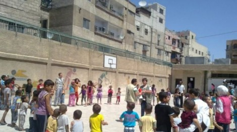 A school ground in Yarmouk (Photo Al-Manar)