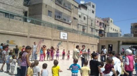 A school ground in Yarmouk (Photo Al-Manar)