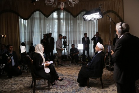 NBC's Ann Curry interviews Iranian President Hassan Rouhani in Tehran, September 18, 2013 (Photo: David Lom / NBC News)
