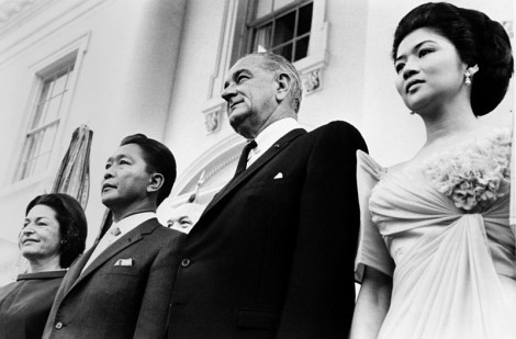 President Marcos with President Johnson (Wikipedia)