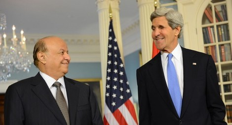 U.S. Secretary of State John Kerry and Yemeni President Abdo Rabbo Mansour Hadi address reporters before their bilateral meeting at the U.S. Department of State in Washington, D.C., on July 29, 2013. (State Department)