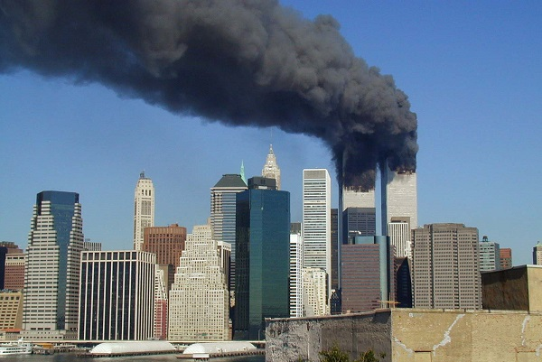 The World Trade Center towers smoking on 9/11