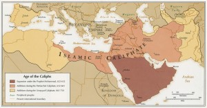 """Age of the Caliphs"", map published by the CIA in 1993, from a Norman B. Leventhal Map Center collection"