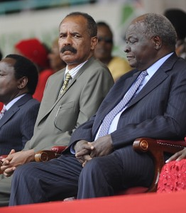 Eritrea's president Isaias Afewerki (L) sits next to Kenya former president Mwai Kibaki (R) at the Kasarani stadium in Nairobi on December 12, 2013 during celebrations marking half a century of independence from Britain. (Simon Maina/AFP/Getty Images)